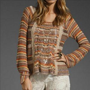 Free People silk blend crochet bell sleeve sweater